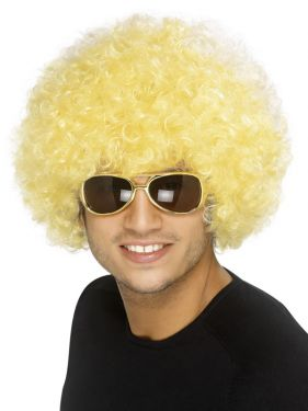 Unisex Funky 70s Afro Crazy Clown Wig - Yellow